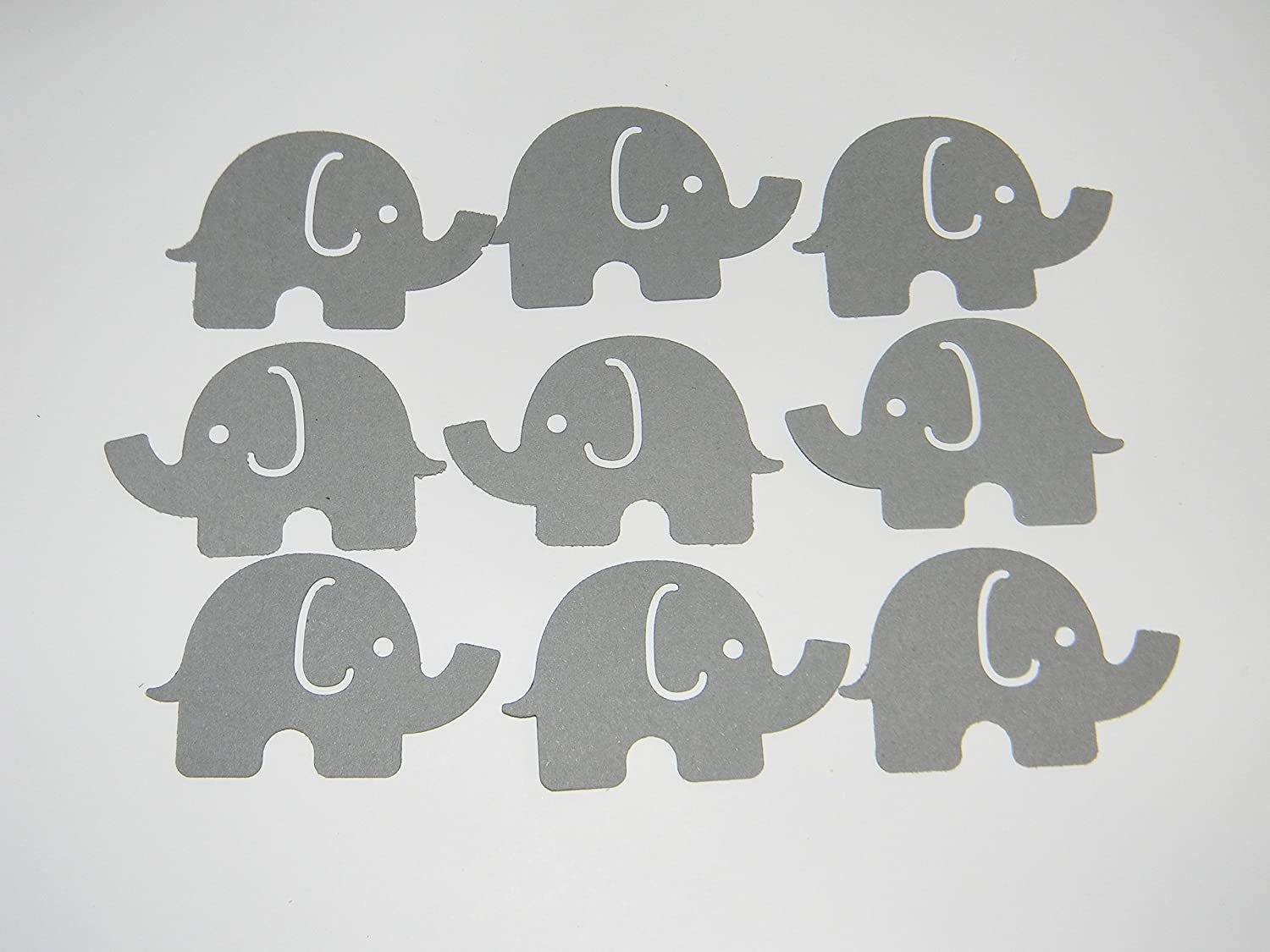 100 Large Gray Elephant Confetti Die cuts birthday party baby shower supplies