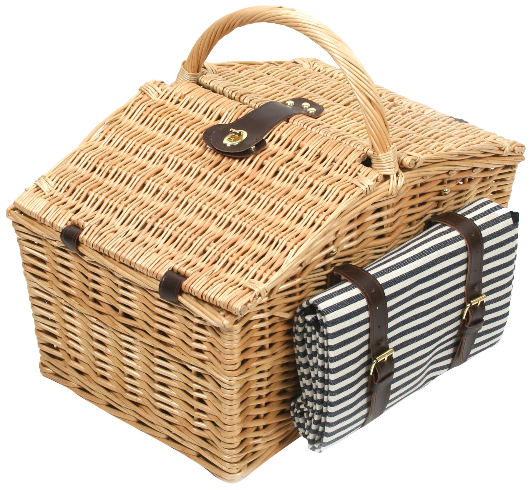 Greenfield Collection Deluxe Somerley Willow 4 Person Picnic Hamper with Matching Blanket - Midnight Blue and White Striped Lining by Greenfield Collection