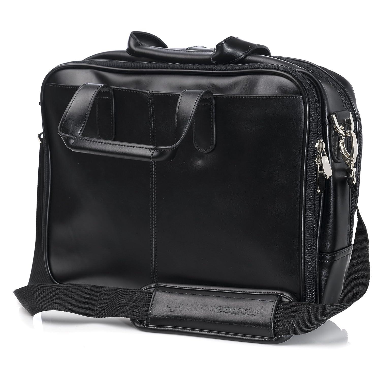 ff01b304a2 Amazon.com  Alpine Swiss Monroe Leather Briefcase Top-Zip Laptop Messenger  Bag Black  Clothing