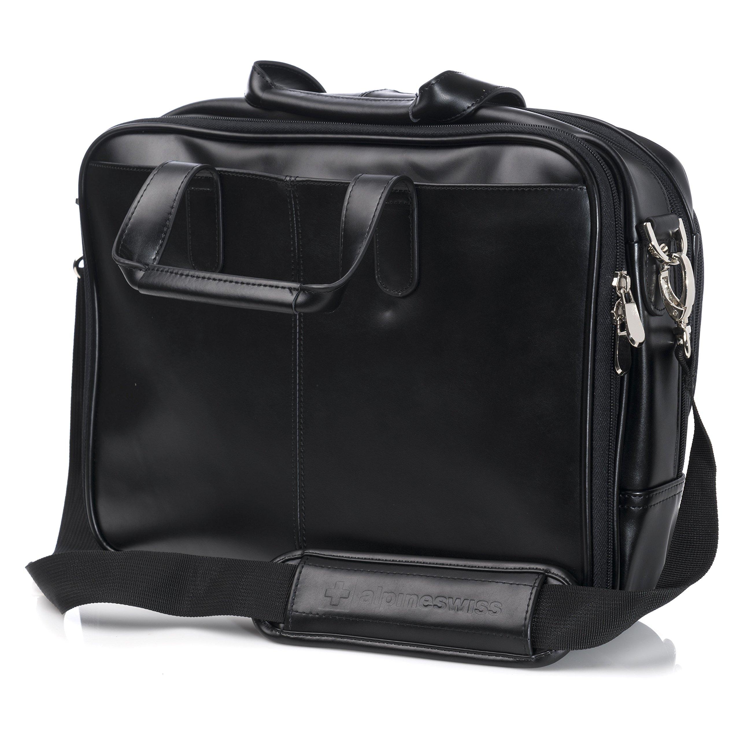 Alpine Swiss Monroe Leather Briefcase Top-Zip Laptop Messenger Bag Black by alpine swiss (Image #4)