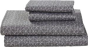 Amazon Brand – Rivet Spectrum 100% Sateen Cotton Bed Sheet Set, Easy Care, Queen, Pewter