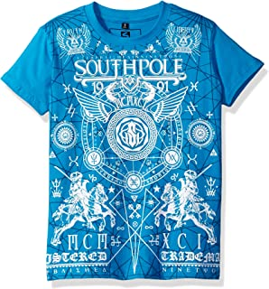 Southpole Mens Photo Real And Flock Print With Verbiage Wording And Bottom Print T-Shirt