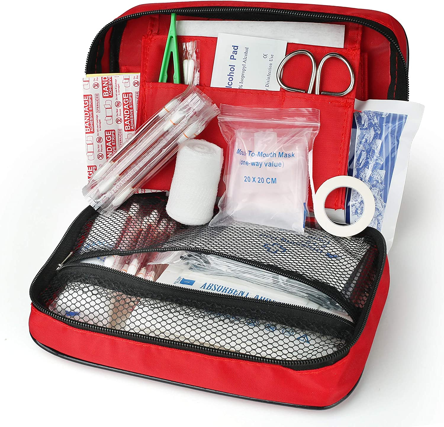LotFancy Small First Aid Kit, First Aid Supplies for Home Wilderness Car Travel Office Workplace Businesses Camping Boating, Portable Medic Trauma Bag, Medical Emergency Kit