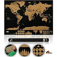 Weltkarte zum Rubbeln - Rubbel Weltkarte - Stilvolle XXL Rubbelkarte - Landkarte zum Freirubbeln - Perfektes Geschenk für Reisende - inkl. Abenteurer PDF - by Wanderlust
