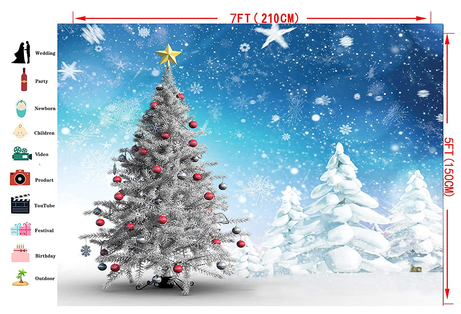 Dudaacvt 5/×7ft Christmas Background Christmas Ball Snow Floor Photo Background White Snowflake Christmas Decoration Backdrops D217