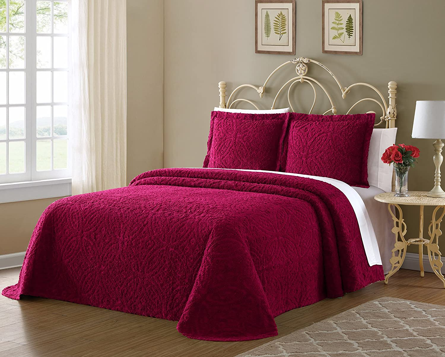 Queen Red Bedspread Ellison Wedding Ring Chenille