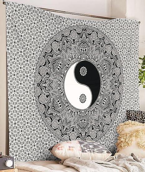 Indian Wall Hanging Black /& White Tapestry Mandala Hippie Tapestries Bohemian