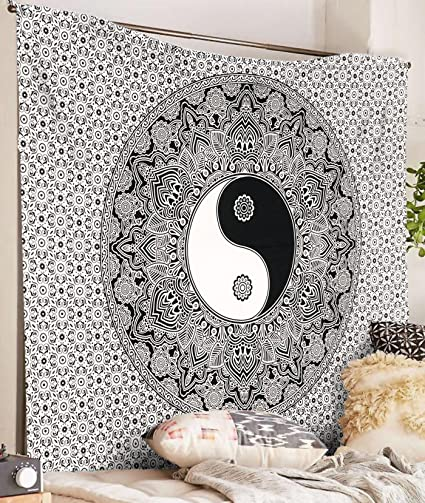 Black And White Tapestry YinYang Wall Hanging Mandala Tapestries Indian Traditional Cotton