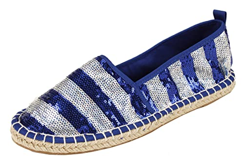 8cf051b4df4 PepStep Women s Sequin Jute Soles Flats Ladies Espadrille Loafer Slip On  Dolly Summer Holiday Shoes Navy