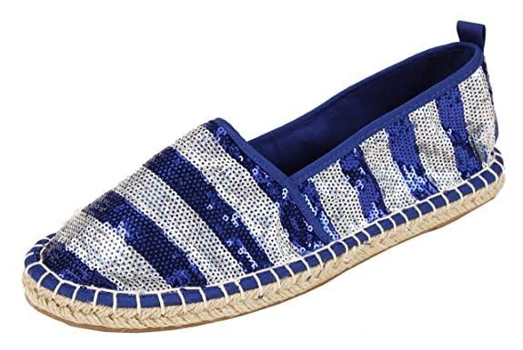 Amazon.com | PepStep Womens Sequin Jute Soles Flats Ladies Espadrille Loafer Slip On Dolly Summer Holiday Shoes | Loafers & Slip-Ons