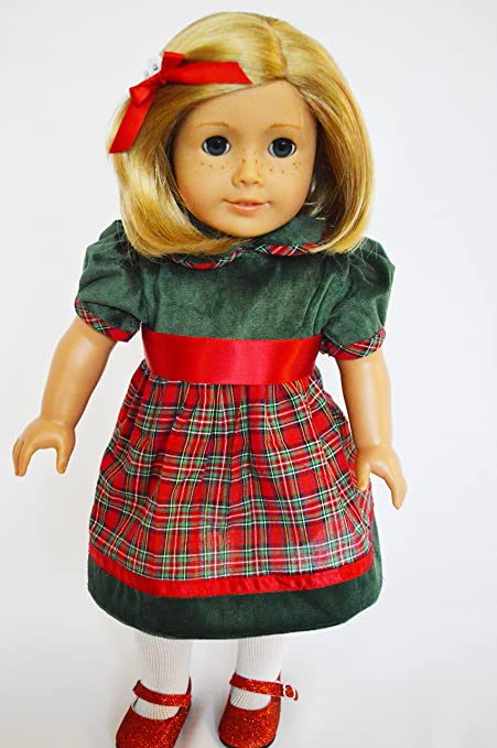 green and red holiday plaid christmas dress outfit for 18 inch american girl dolls - Plaid Christmas Dress