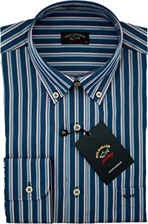 PAUL & SHARK - Camisa Casual - para Hombre BLU A Righe 38: Amazon.es: Ropa y accesorios