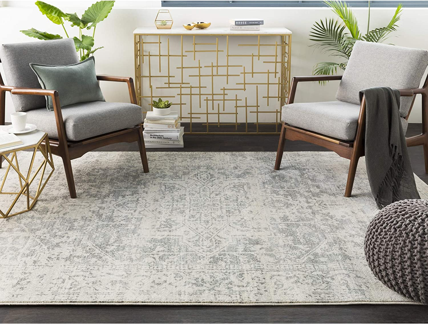 Amazon Com Janine Gray And Beige Updated Traditional Area Rug 10 X 14 Furniture Decor