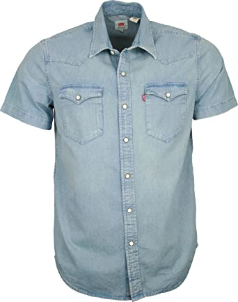 5330c403cc Mens Levis Western Short Sleeve Denim Shirt - Slim Fit Light Wash  Distressed  Amazon.co.uk  Clothing