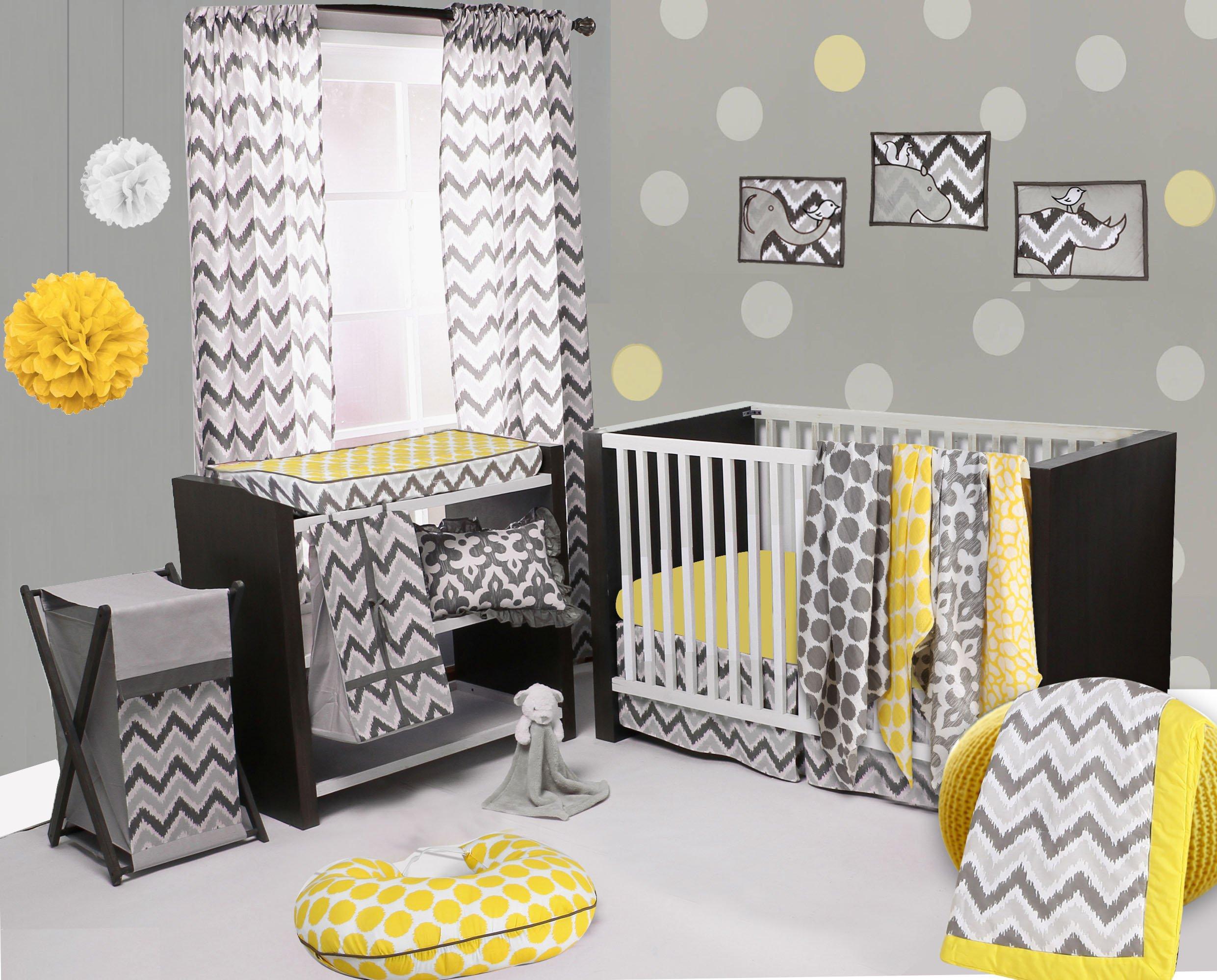 Bacati Ikat Chevron Muslin 10 Piece Crib Set with 2 Sheets, Yellow/Grey