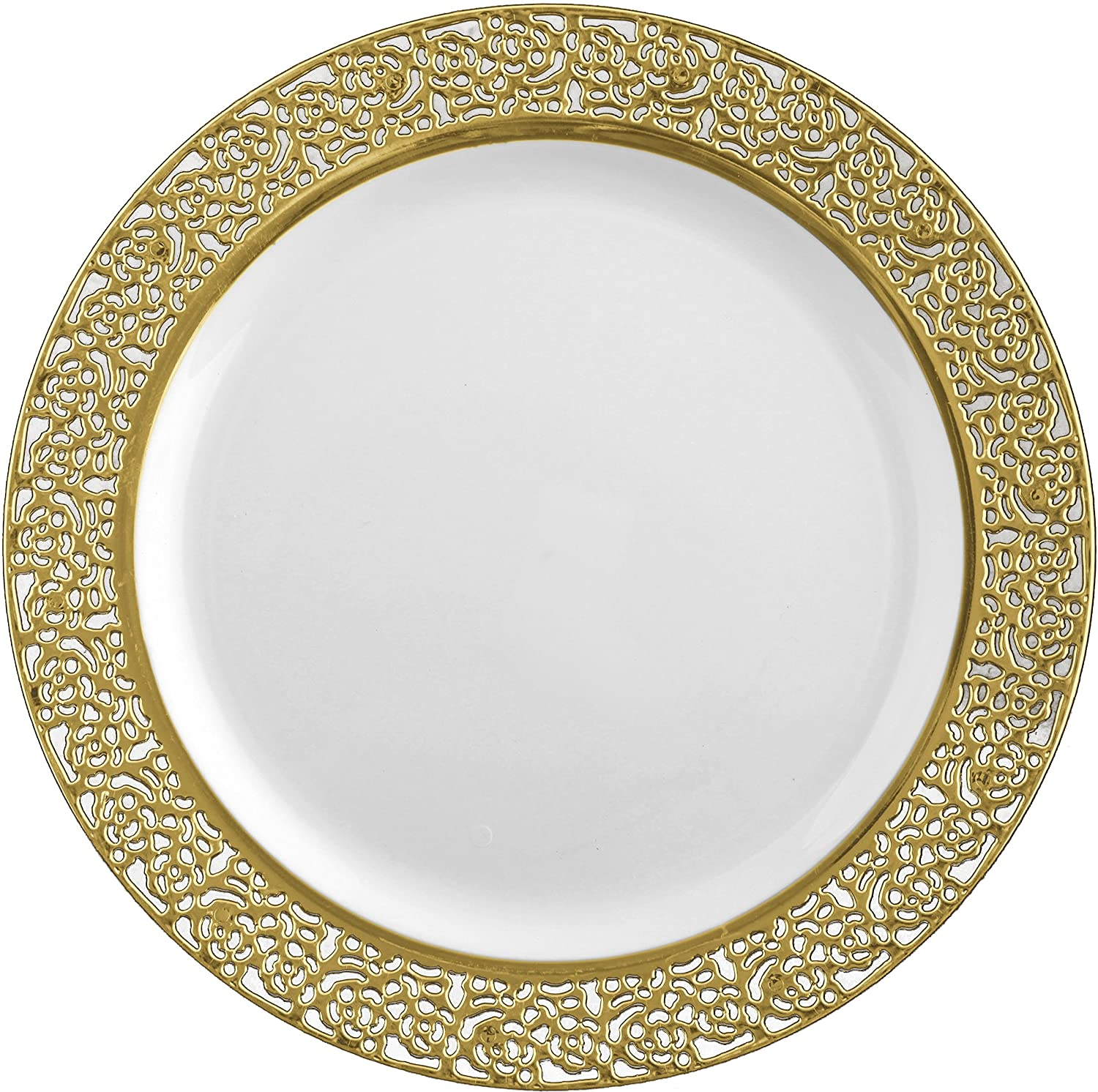 Decor Elegant Disposable Plastic Premium Dinner Plates Inspiration Gold u0026 White (10.25 -26CM Plates) Amazon.co.uk Kitchen u0026 Home  sc 1 st  Amazon UK & Decor Elegant Disposable Plastic Premium Dinner Plates Inspiration ...