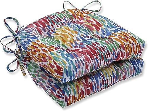Pillow Perfect Outdoor Indoor Make It Rain Zinnia Reversible Chair Pad Set of 2 , Blue 16 X 15.5 X 4