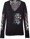 Hot Leathers Skull Bouquet Ladies Burnout Long Sleeve Tee (Black, X-Large)