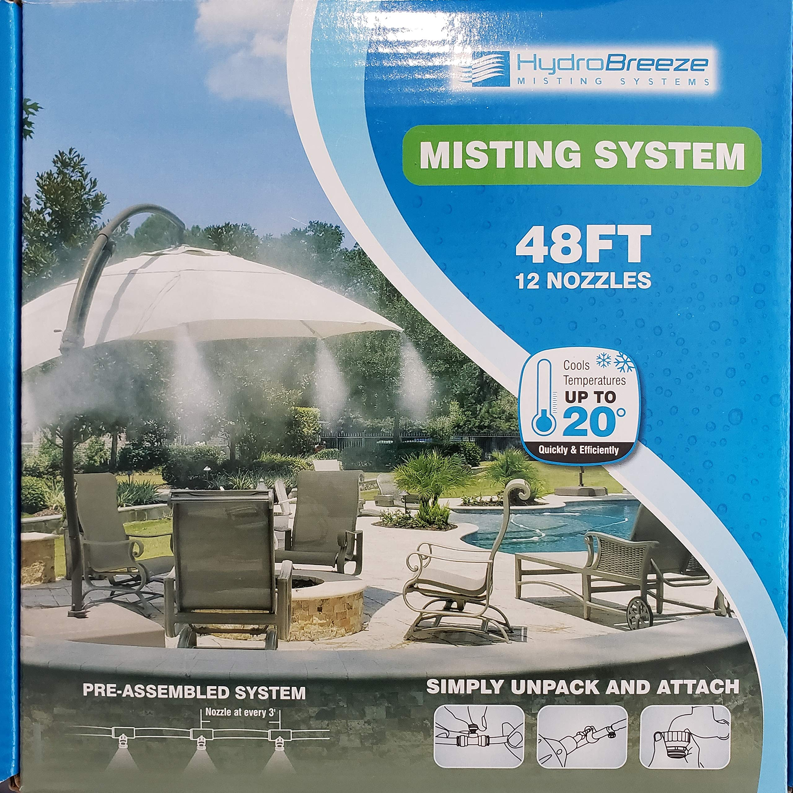 Hydrobreeze Pre-Assembled Misting System 48 Feet 1/4 in Beige Tubing - 12 Nozzles by Hydrobreeze