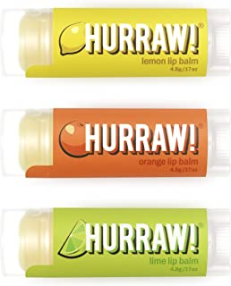 product image for Hurraw! Lemon, Orange, Lime Lip Balms, 3 Pack Bundle: Organic, Certified Vegan, Cruelty and Gluten Free. Non-GMO, 100% Natural Ingredients. Bee, Shea, Soy and Palm Free. Made in USA