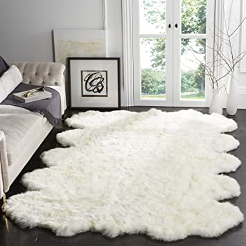 N Safavieh Sheepskin Collection SHS211A Genuine Pelt Handmade White  Premium Shag Rug 8u0027 X