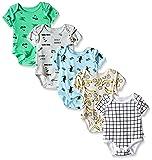 Rosie Pope Baby 5 Pack Bodysuits, Irish Green/Petite Four/Aurora/Crystal Gray, 0-3 Months