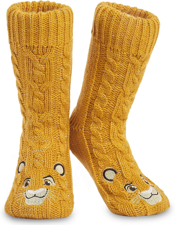 Disney Calcetines Antideslizantes Invierno Mujer Con Personajes Stitch Mickey Minnie, Zapatillas de Punto Forro Polar Para Estar Por Casa, Regalos Para Mujeres Chicas