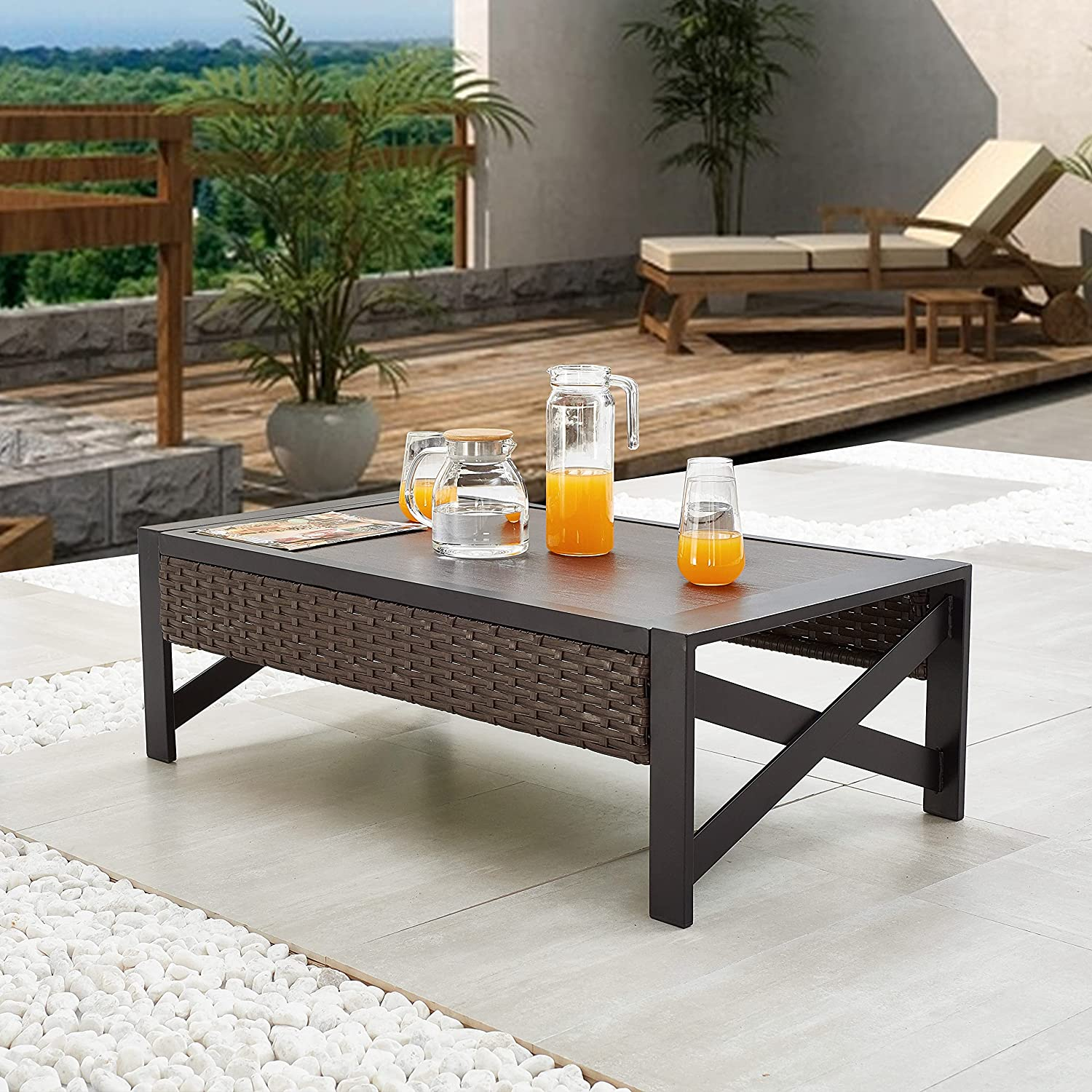 LOKATSE HOME Outdoor Metal Coffee End Table Patio Bistro Rectangle Side Wicker Rattan Furniture with X Shaped Steel Legs, Brown&Black