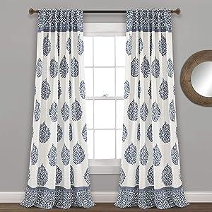 "Lush Decor Teardrop Leaf Curtains Room Darkening Window Panel Set for Living, Dining, Bedroom (Pair), 95"" x 52"", Navy, 95"" x 52"","