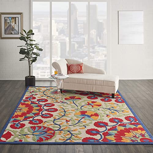 Nourison Aloha Indoor Outdoor Floral 6 x 9 Red Multi Area Rug 6×9 , 6 X9 ,
