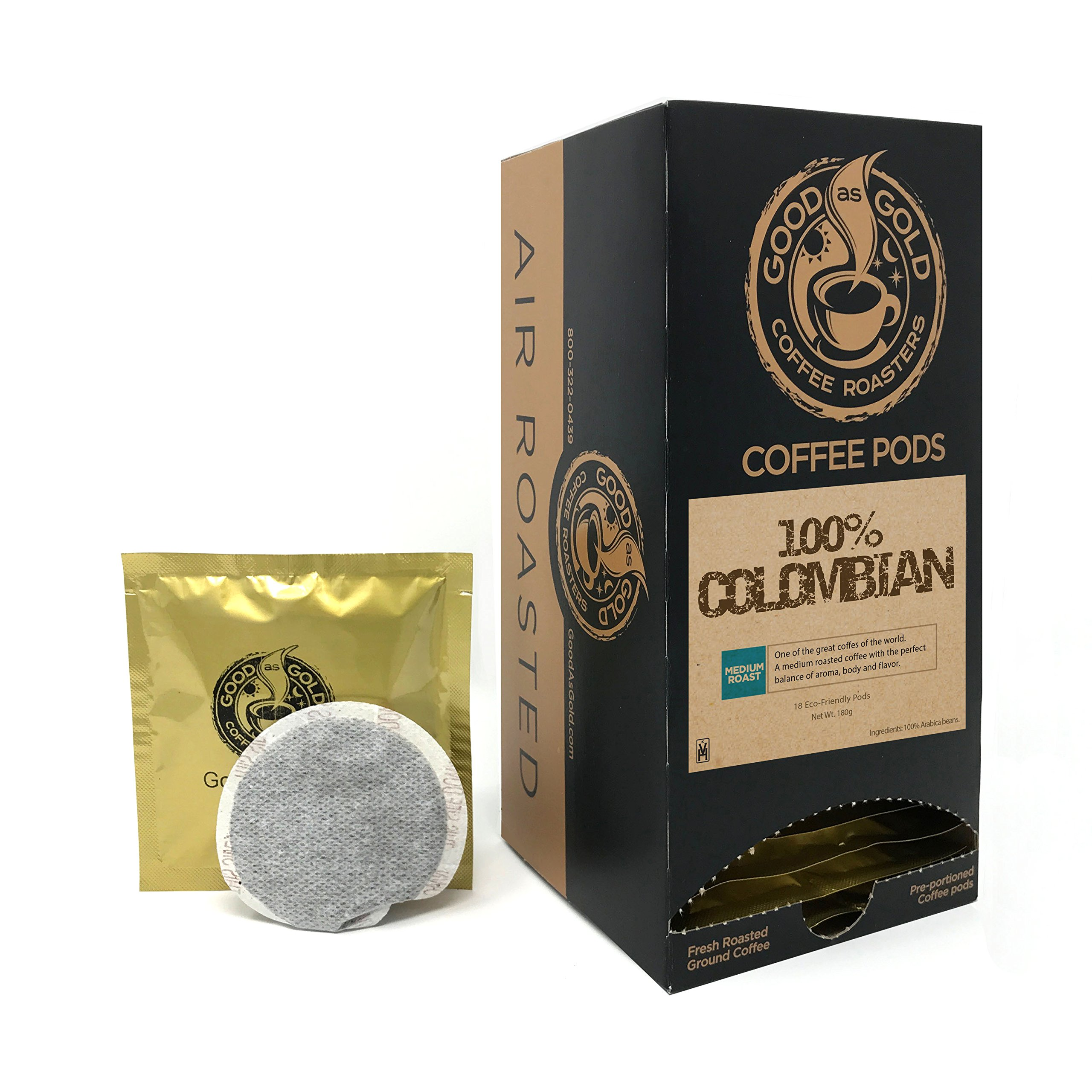 100% COLOMBIAN COFFEE PODS - Good As Gold Coffee - (1 Box/18 Coffee Pods)
