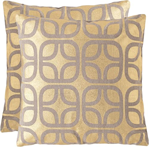 Safavieh Collection Cole Gold Throw Pillows 22 x 22 Set of 2
