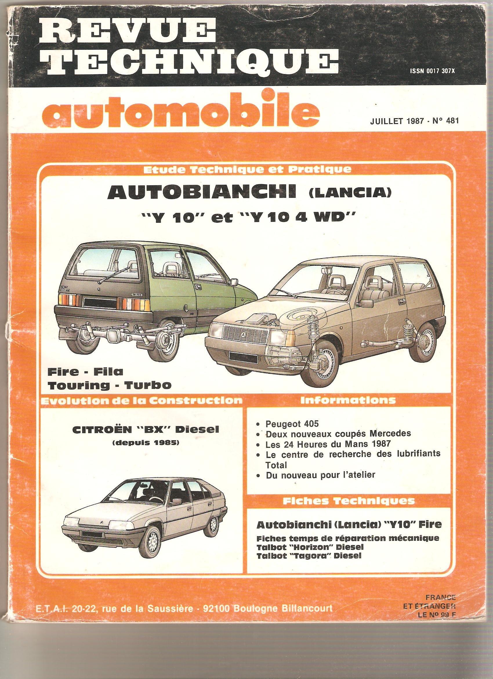 Revue Technique Automobile, n°481 : Autobianchi (Lancia) : Y 10 et Y 10 4 WD : Fire, Fila, Touring, Turbo Paperback