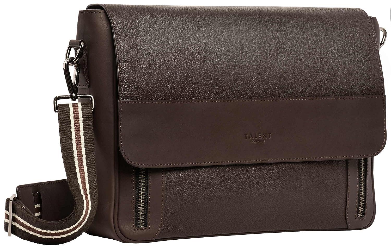 TALENT Liebigメッセンジャーバッグ - 本物のカーフレザー製クラシックショルダーバッグ - ダークブラウン B07D7W5RGM