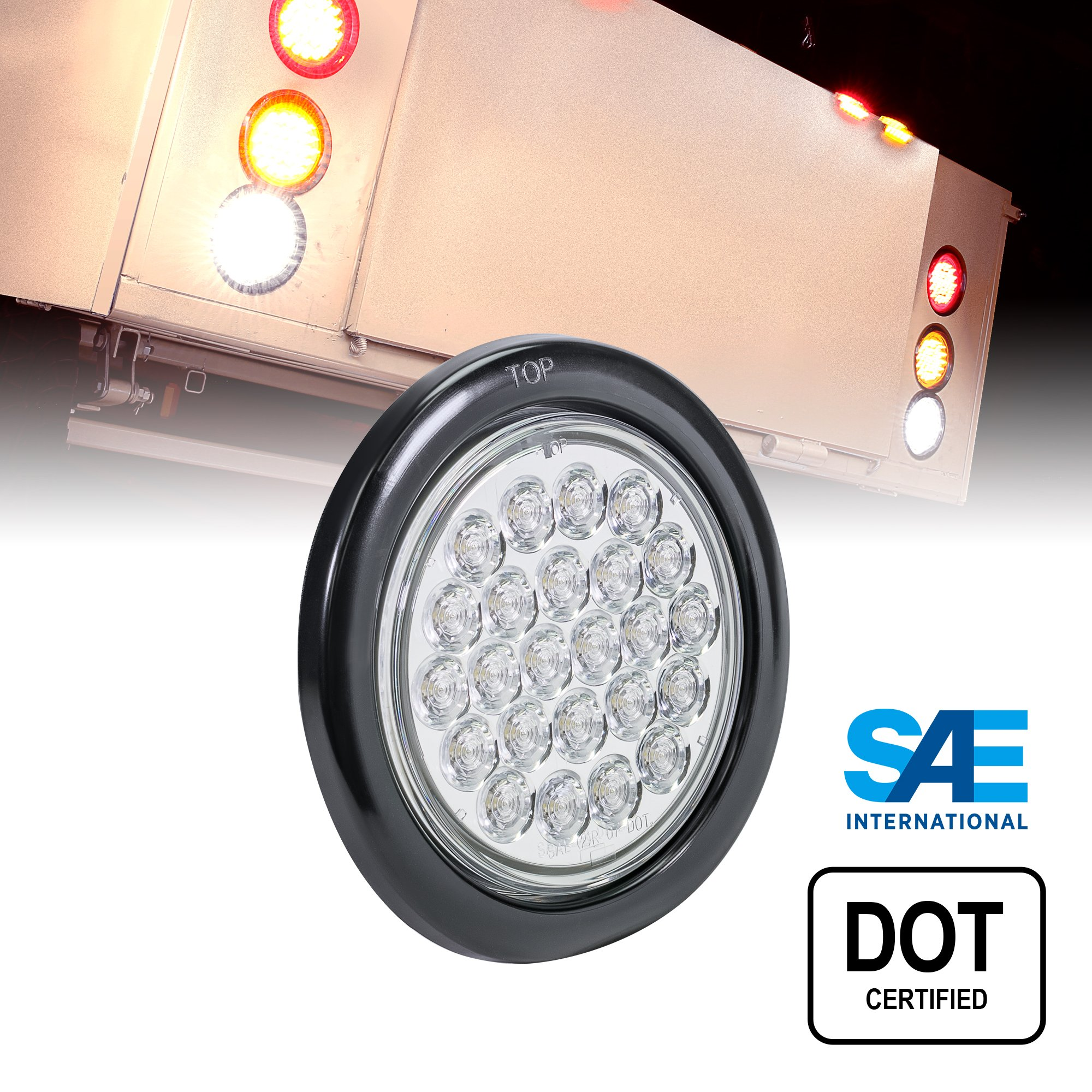 4'' Round White 24 LED Trailer Tail Lights [DOT Certified] [Grommet & Plug Included] [IP67 Waterproof] Reverse Back Up Trailer Lights for RV Trucks Jeep by ONLINE LED STORE