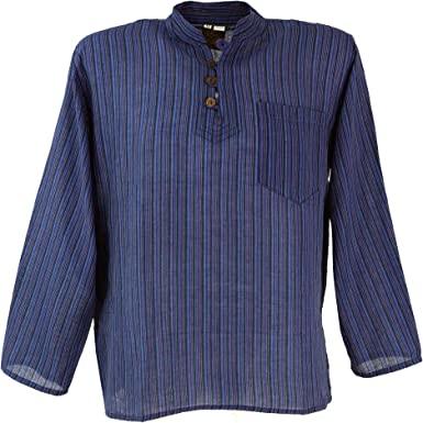 GURU-SHOP, Camisa de Pescador de Nepal con Rayas Goa Hippie Shirt, Azul, Algodón, Tamaño:48, Camisas de Hombre: Amazon.es: Ropa y accesorios