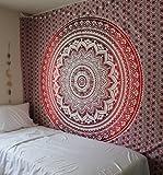 Rawyalcrafts Rouge Ombre indien hippie mandala Tapisserie, Reine Mandala Home Décor, Pensée magique Tapisserie murale à suspendre