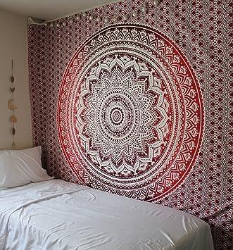 Rawyalcrafts Rouge Ombre Indien Hippie Mandala Tapisserie Reine