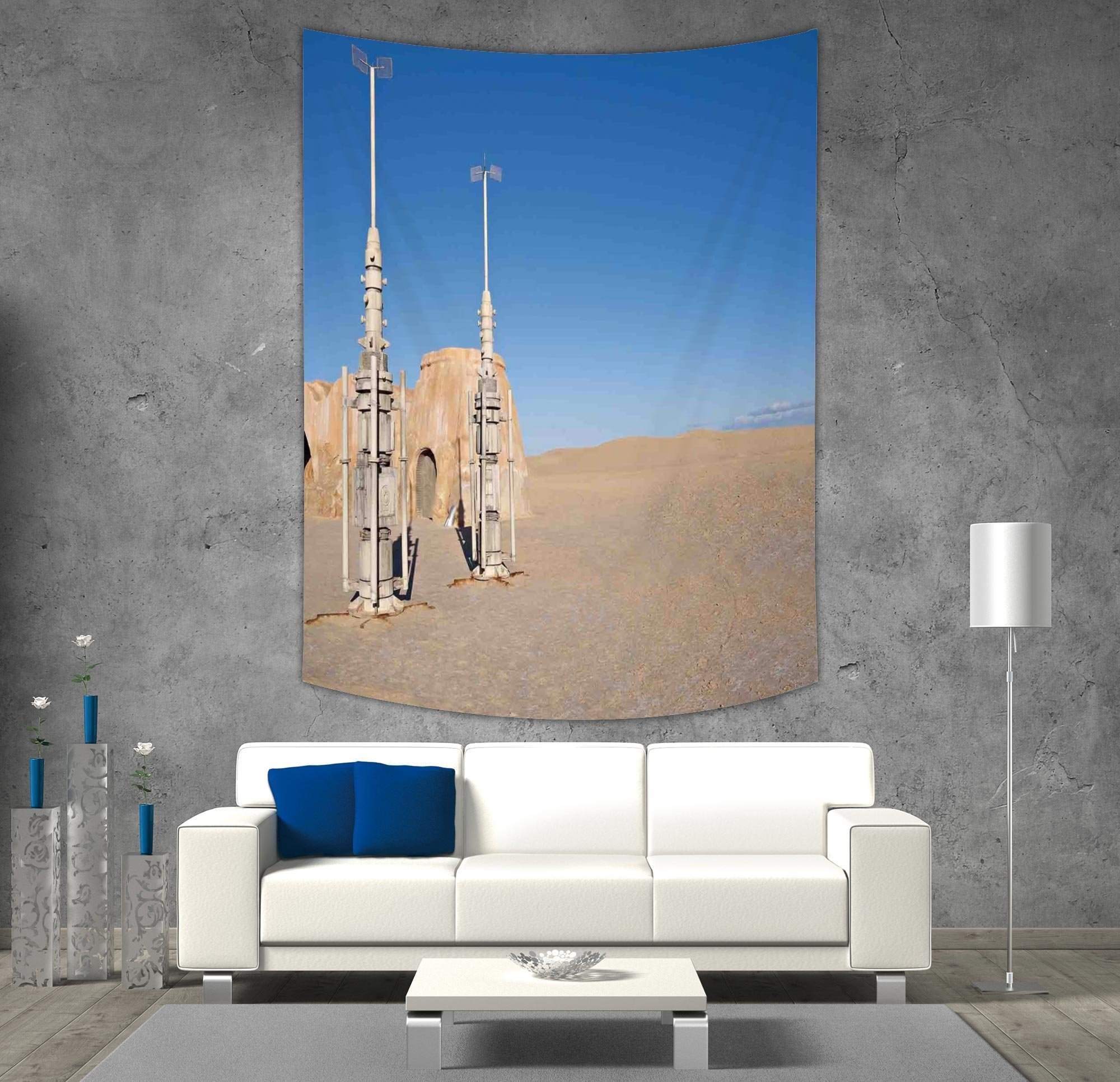 iPrint Polyester Tapestry Wall Hanging,Galaxy,Illustration of Town of Famous Movie Set on the Planet Fantasy Space Wars Theme,Brown Blue,Wall Decor for Bedroom Living Room Dorm