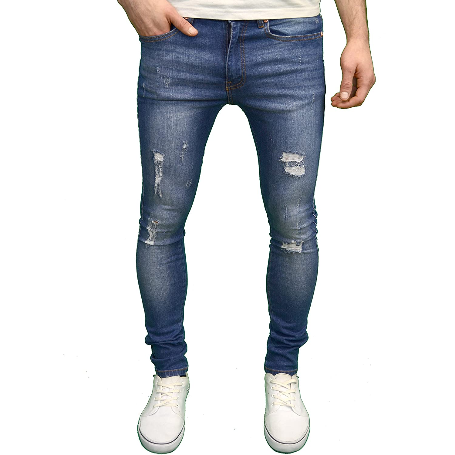 Stone Edge Mens Stretch Super Skinny Fit Ripped Jeans