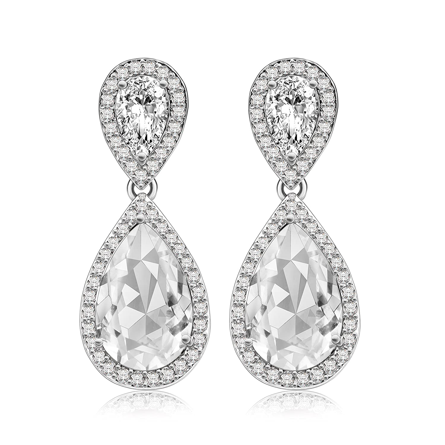 Crystal Dangle Earrings Made With Swarovski Crystals Sparkly Teardrop Chandelier Exquisite Workmanship Fashion Stylish Elegant Design