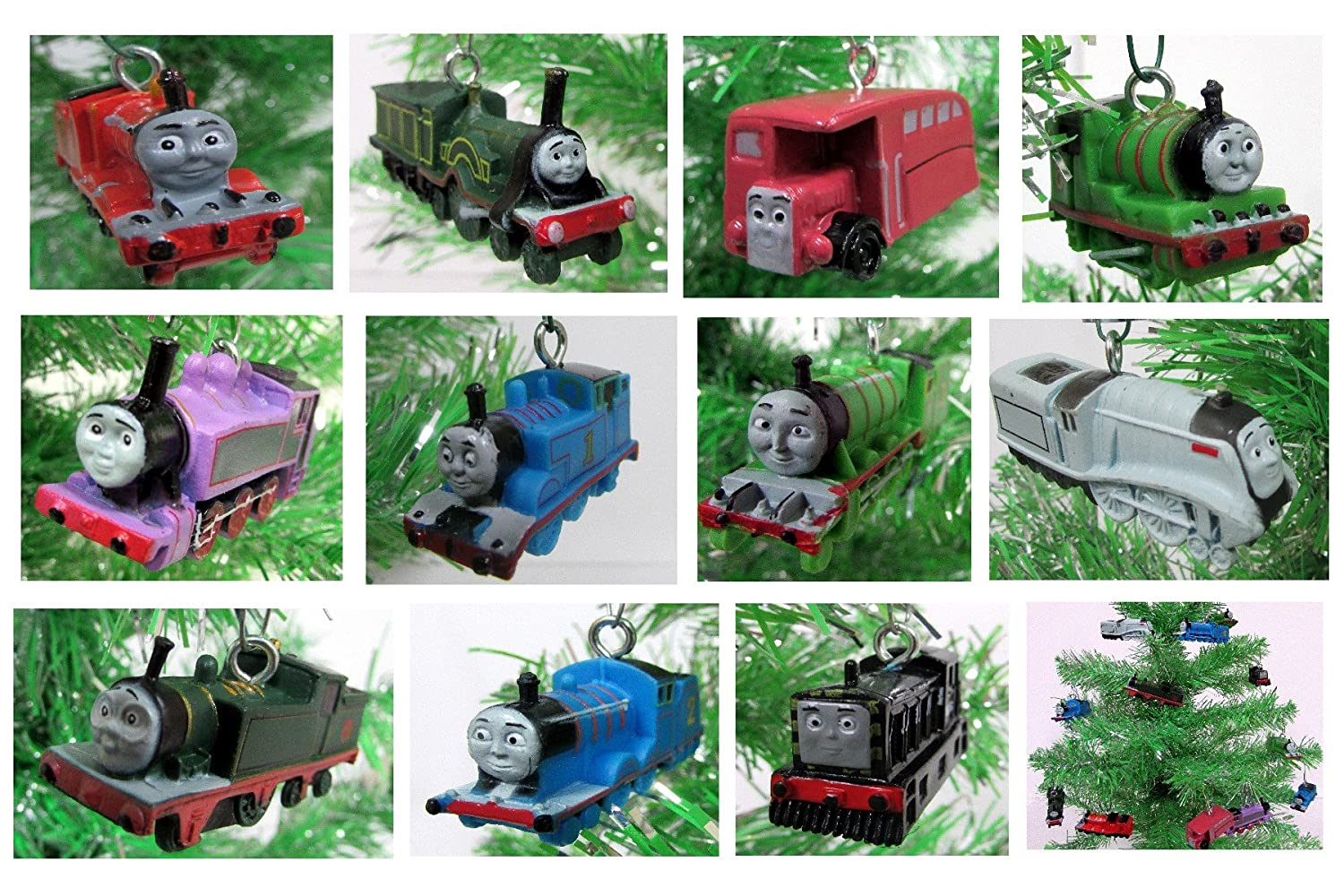 "Thomas the Train 12 Piece Holiday Christmas Tree Ornament Set Featuring Thomas, Hiro, James, Percy, Belle, Spencer and Other Engine Friends Ranging from 2"" to 3"" Long"