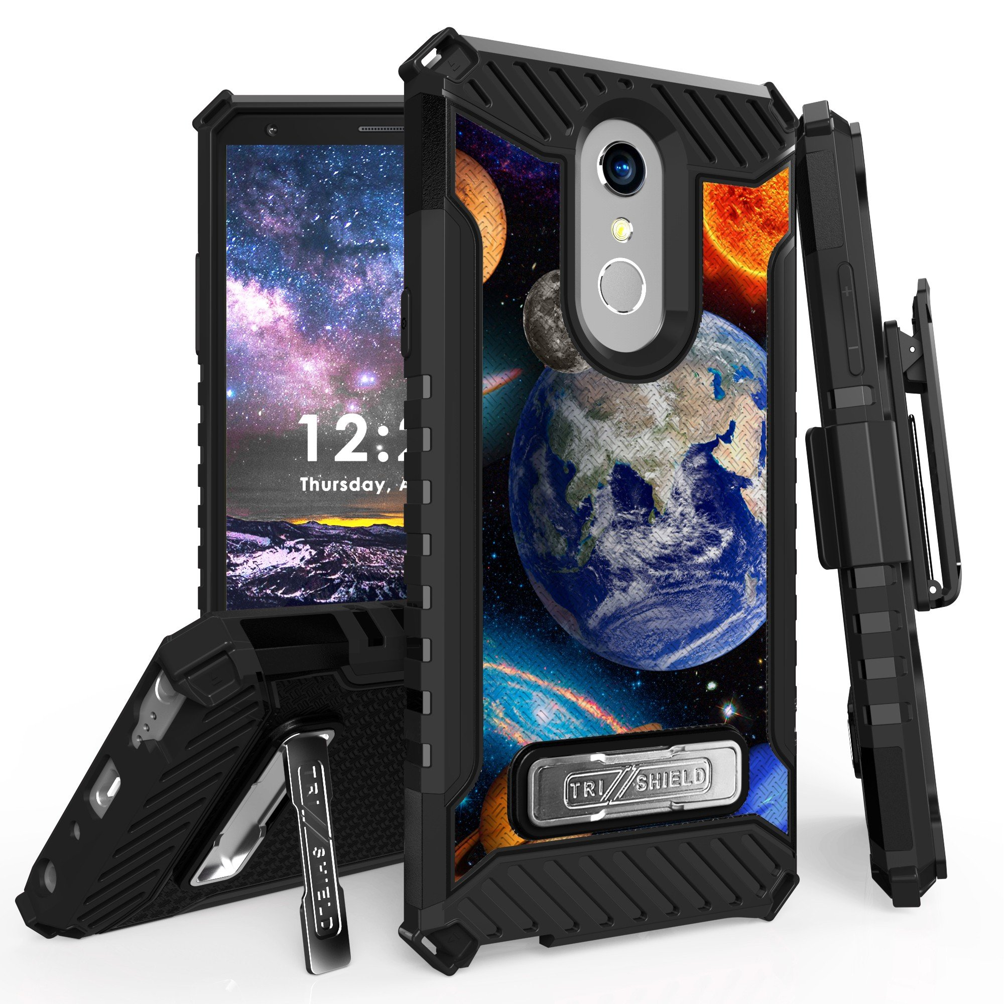LG Stylo 4 Case, Trishield Durable Rugged Heavy Duty Phone Cover [ Belt Clip Holster] And Built in kickstand For LG Stylo 4 (2018 Released) - Solar Planet Galaxy