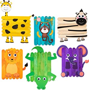 WATINC 6Pcs Safari Jungle Animals Wooden Sticks Craft Forest DIY Art Crafts Kit for Kids Creative Handmade Project Supplies with Googly Eyes Birthday Gift Home Classroom Activity Games for Boys Girls