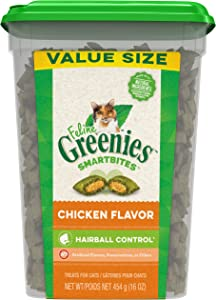 Greenies Feline SMARTBITES Hairball Control Natural Treats for Cats, Chicken Flavor, 16 oz. Tub