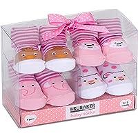 BRUBAKER Corredino neonato da 0-12 mesi -4 paia di calzini divertenti in stile sneaker e dal design fantasioso in confezione regalo