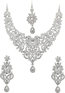 Touchstone Indian Bollywood Traditional Royal Look Attractive filligree Carving White Rhinestone Grand Bridal Designer Jewelry Necklace Set for Women in Antique Gold Tone Touchstone Gems & Jewellery PWNSL114-05P--G
