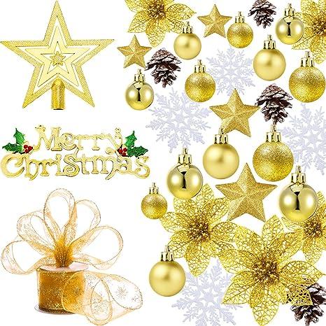 Immagini Natale Oro.Boao 72 Pezzi Ornamenti Di Palline Di Natale Decorazioni Per L