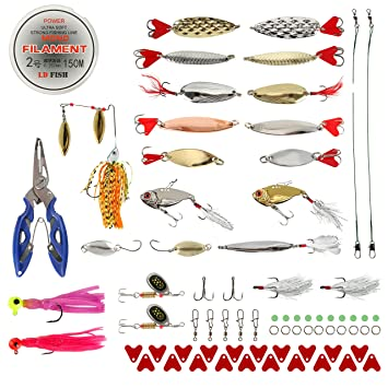 BLISSWILL Fishing Lures Baits Tackle Kit Hard Soft Plastic Fishing Lures  Crankbaits Spinnerbaits Jig Head Grub Bait Worms Shrimp with Fishing Tackle