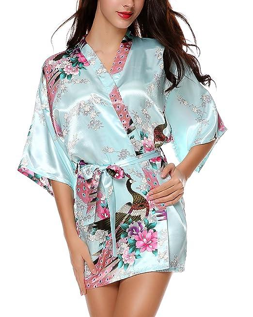 f3ba6599b Avidlove Pijama lencería Kimono Corto de satén de Estampado Floral para  Mujer: Amazon.es: Ropa y accesorios